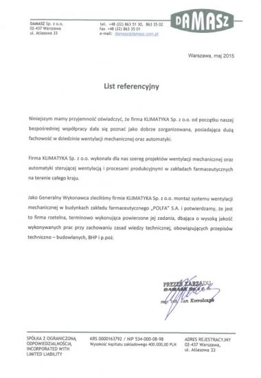 REFERENCJE-DAMASZ SP. ZO.O.